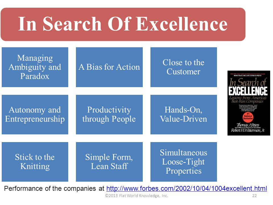 in search of excellence past —from the excellence dividend by tom peters with practical, ground-level advice for managers (quick decision making, lean staff, close customer relationships), in search of excellence became an international bestseller.