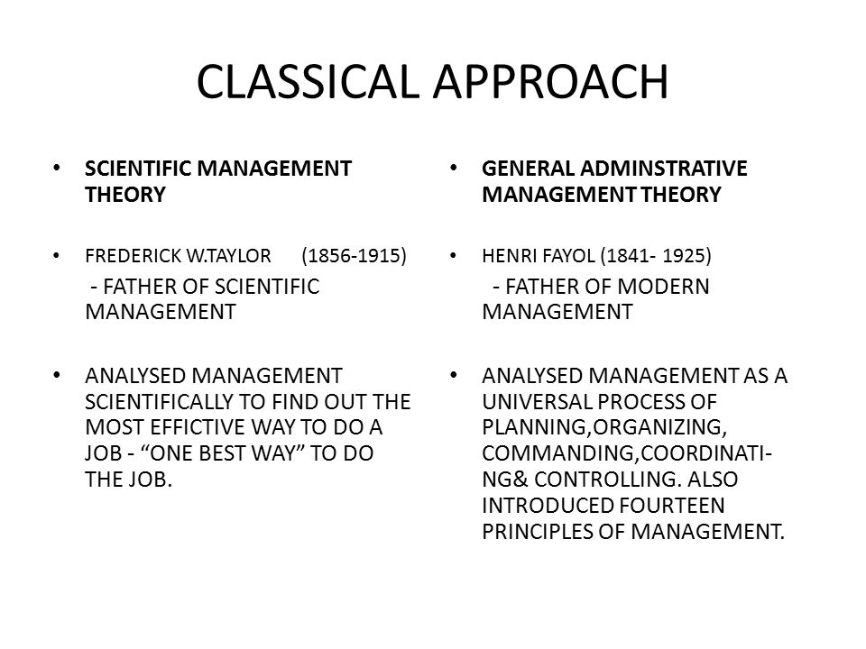INTRODUCTION TO CLASSICAL APPROACH - ppt video online download