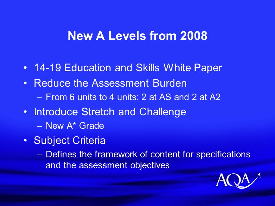 New A Levels from 2008 14-19 Education and Skills White Paper