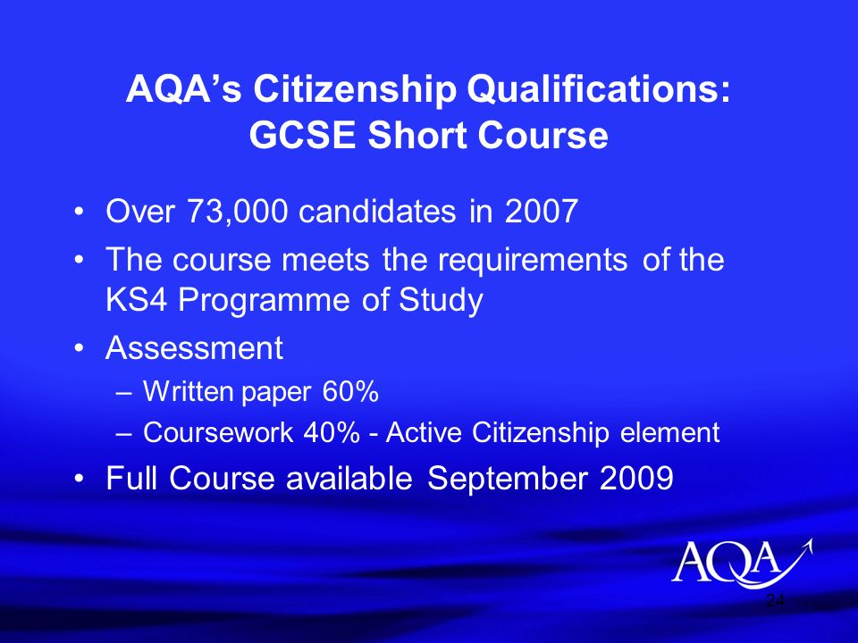 AQA's Citizenship Qualifications: GCSE Short Course