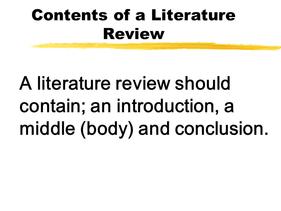 Contents of a Literature Review