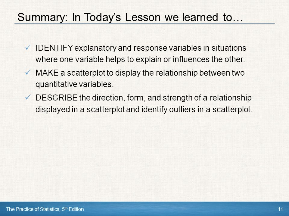 Summary: In Today's Lesson we learned to…