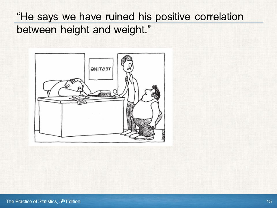 He says we have ruined his positive correlation between height and weight.