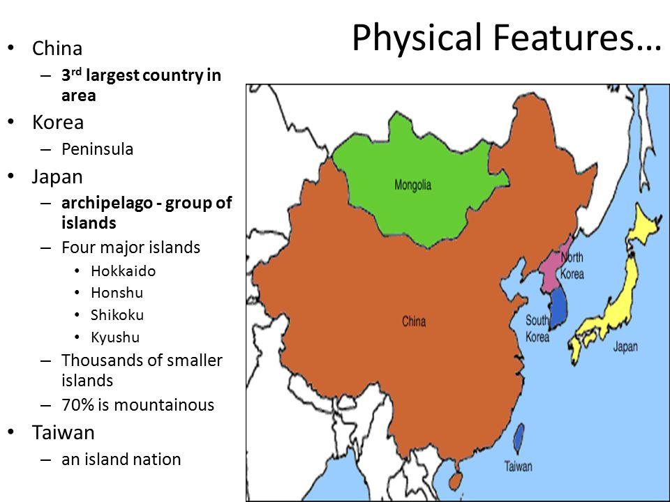5 Physical Featuresu2026 China Korea Japan Taiwan