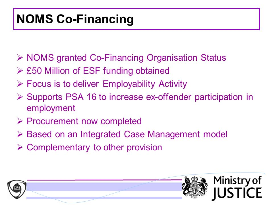 NOMS Co-Financing NOMS granted Co-Financing Organisation Status