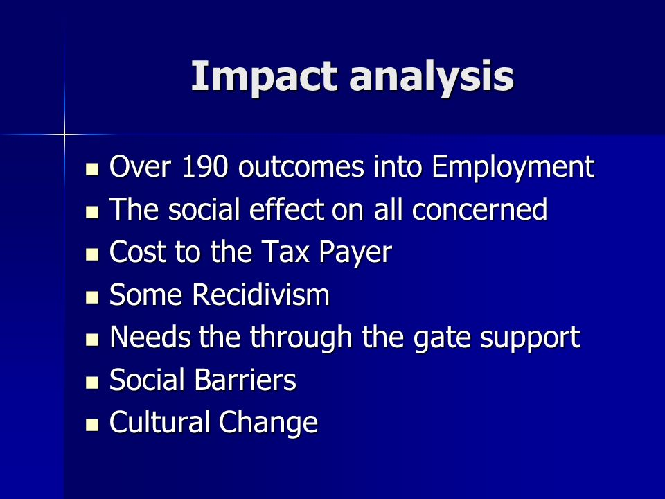 Impact analysis Over 190 outcomes into Employment