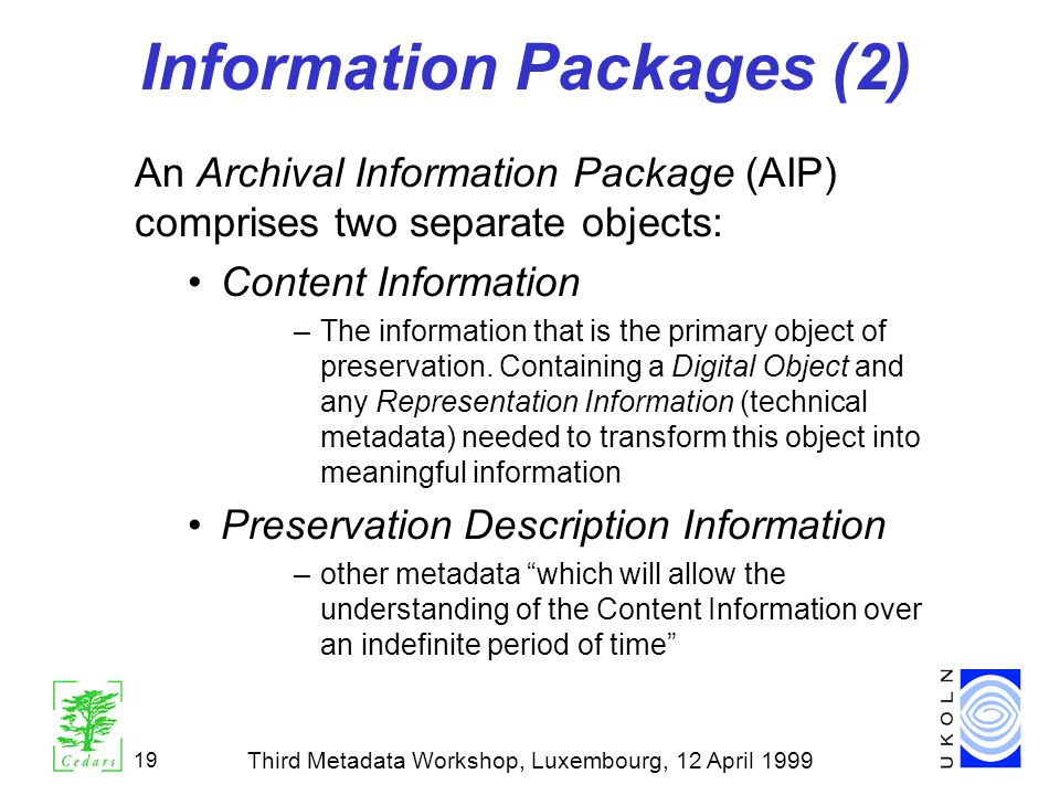 Information Packages (2)