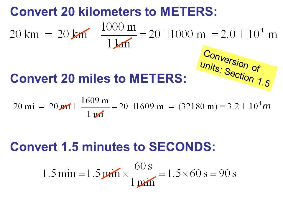 Convert 20 Kilometers To Meters
