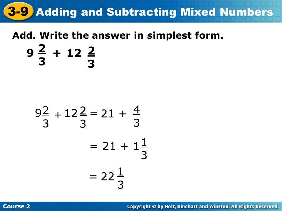 simplest form 3/9  16-16 Adding and Subtracting Mixed Numbers Do Now Add or ...