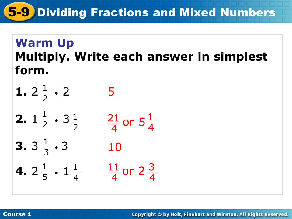 simplest form dividing fractions  14-14 Dividing Fractions and Mixed Numbers Warm Up Problem of ...