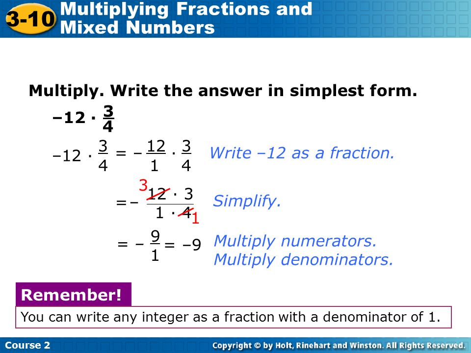 simplest form 3/12  12-12 Multiplying Fractions and Mixed Numbers Warm Up - ppt ...
