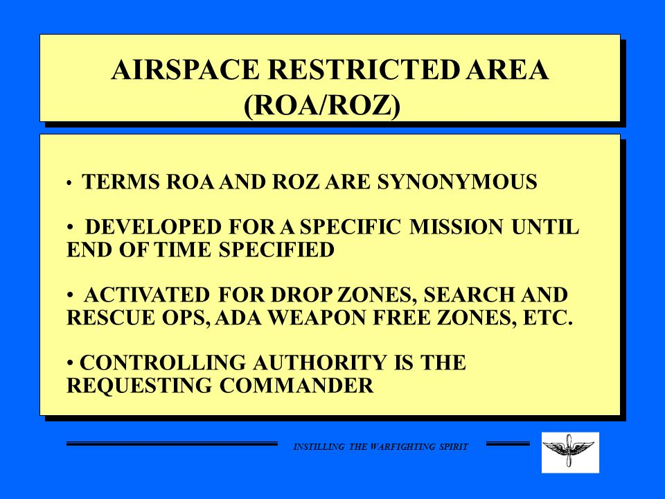 AIRSPACE RESTRICTED AREA (ROA/ROZ)