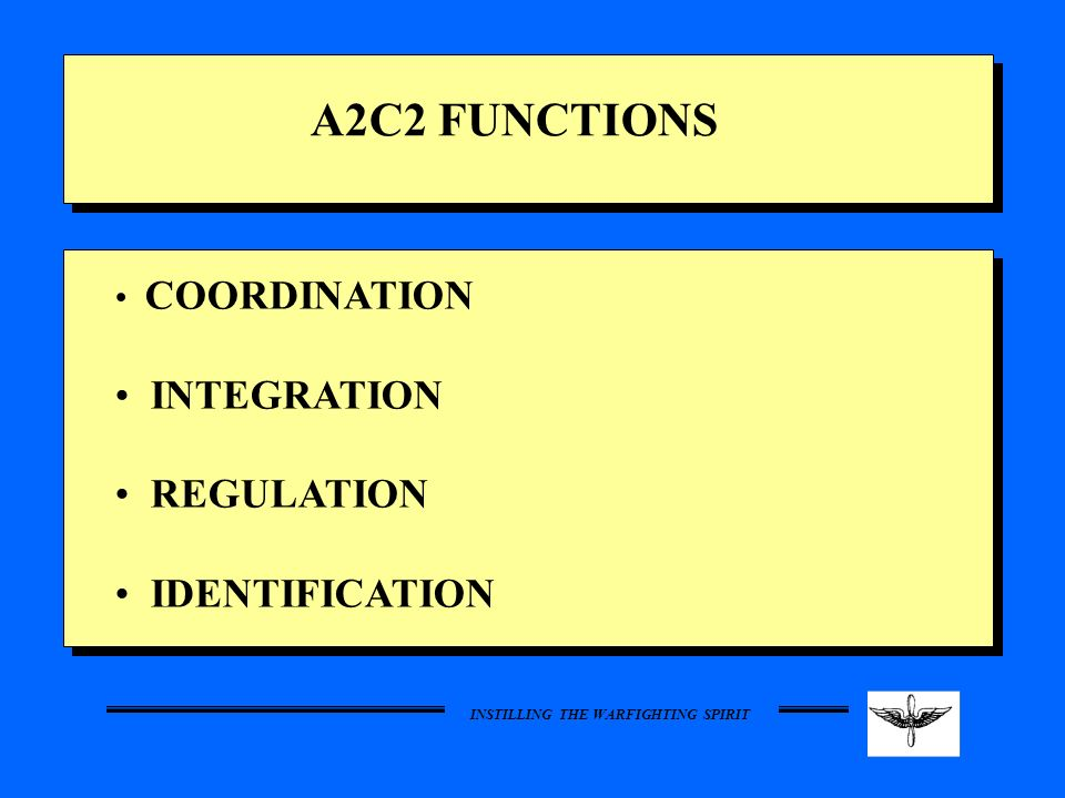 A2C2 FUNCTIONS COORDINATION INTEGRATION REGULATION IDENTIFICATION 5