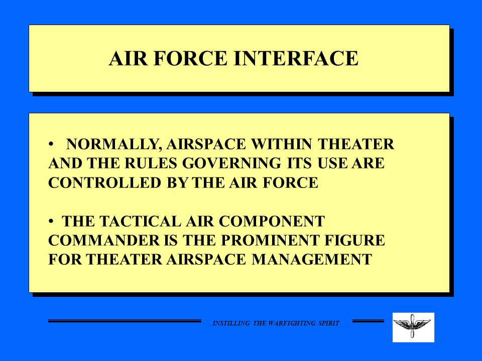 AIR FORCE INTERFACE NORMALLY, AIRSPACE WITHIN THEATER