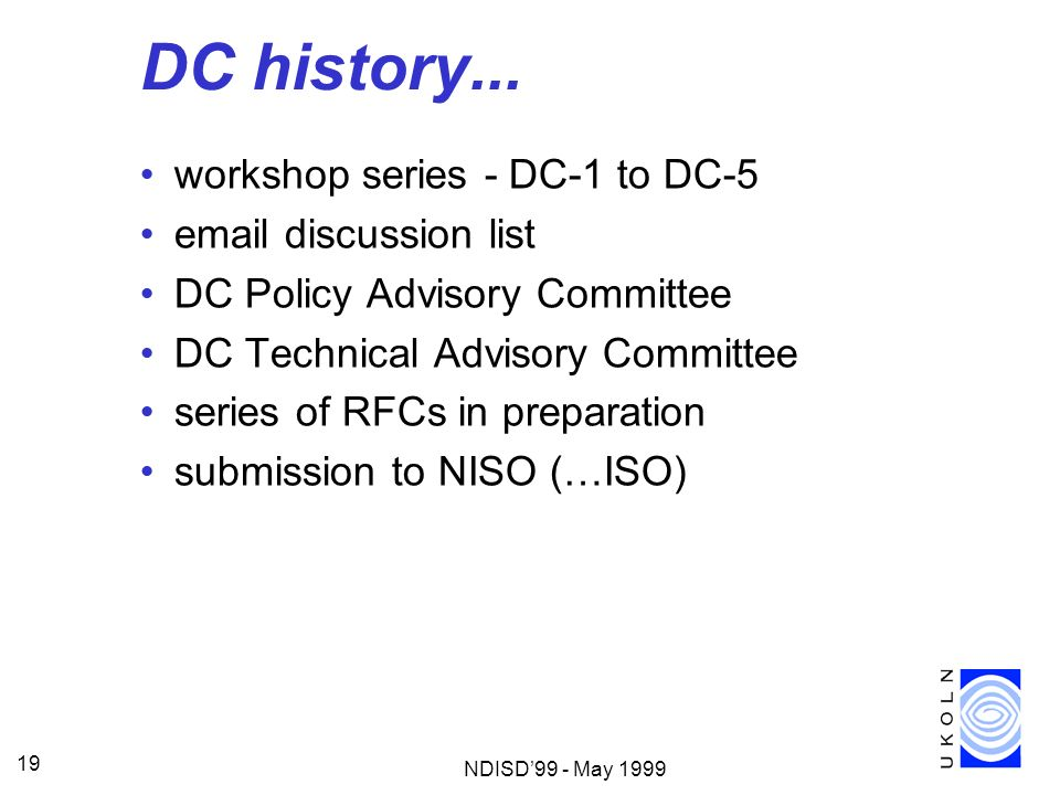 DC history... workshop series - DC-1 to DC-5  discussion list