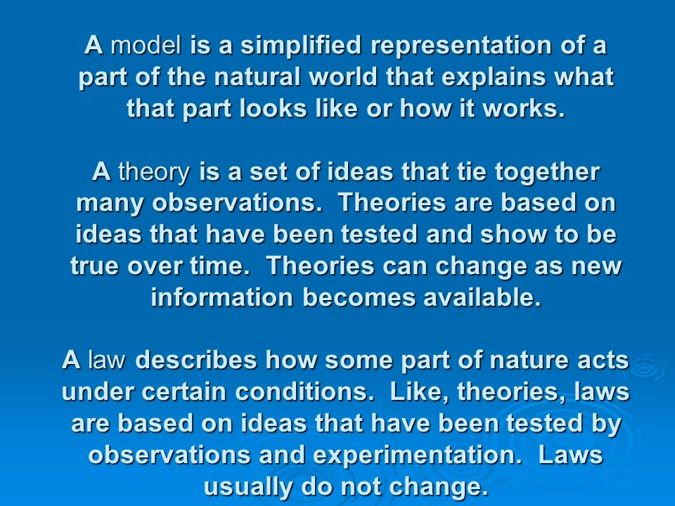 A model is a simplified representation of a part of the natural world that explains what that part looks like or how it works.