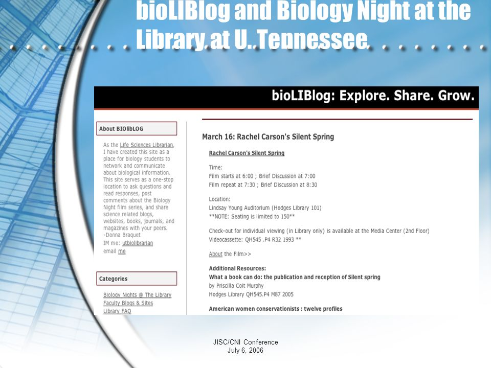 bioLIBlog and Biology Night at the Library at U. Tennessee