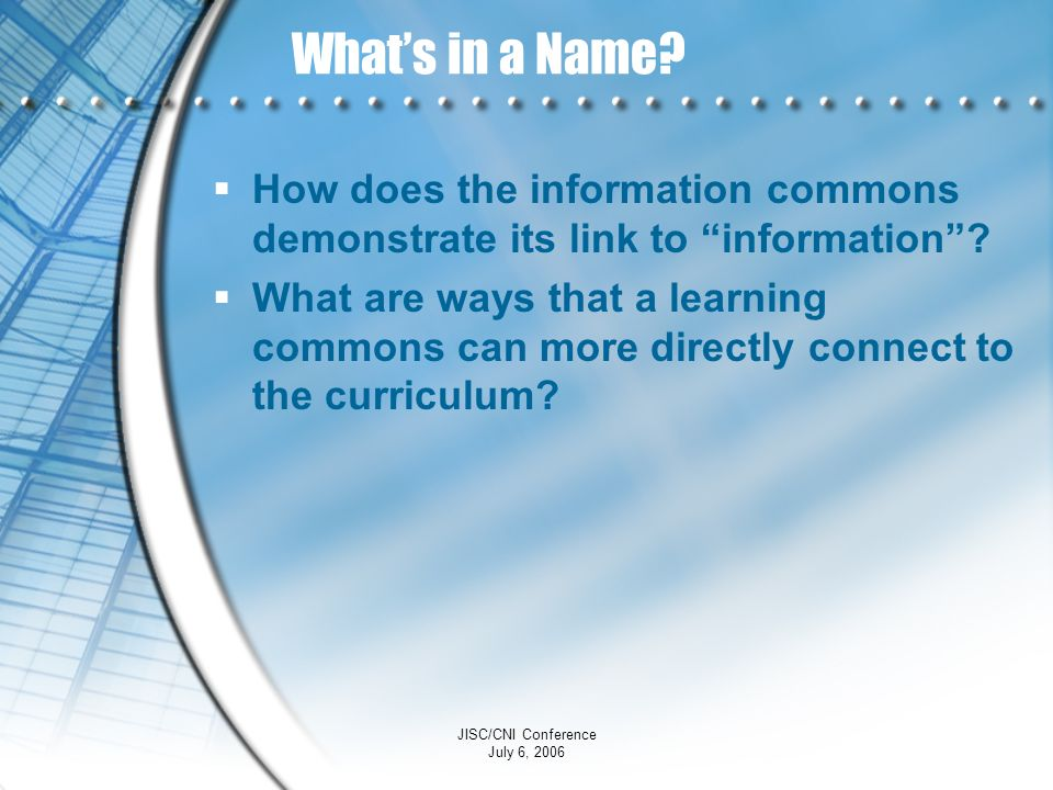What's in a Name How does the information commons demonstrate its link to information