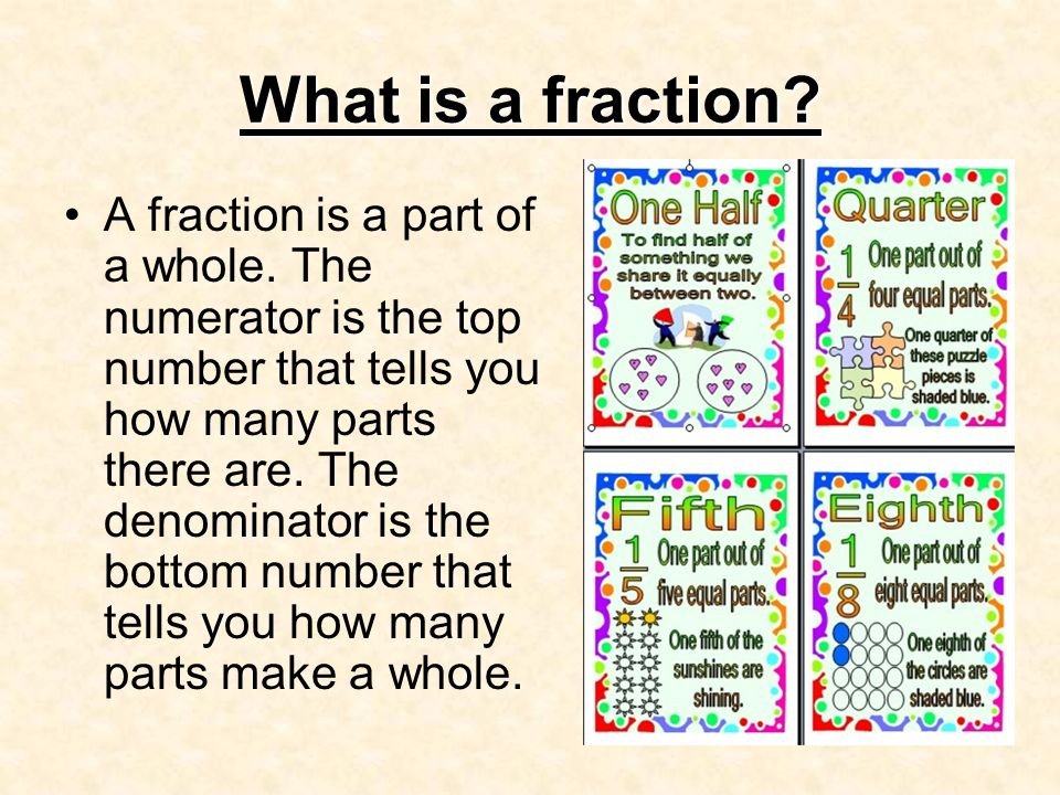 What is a fraction? A fraction is a part of a whole. The numerator ...