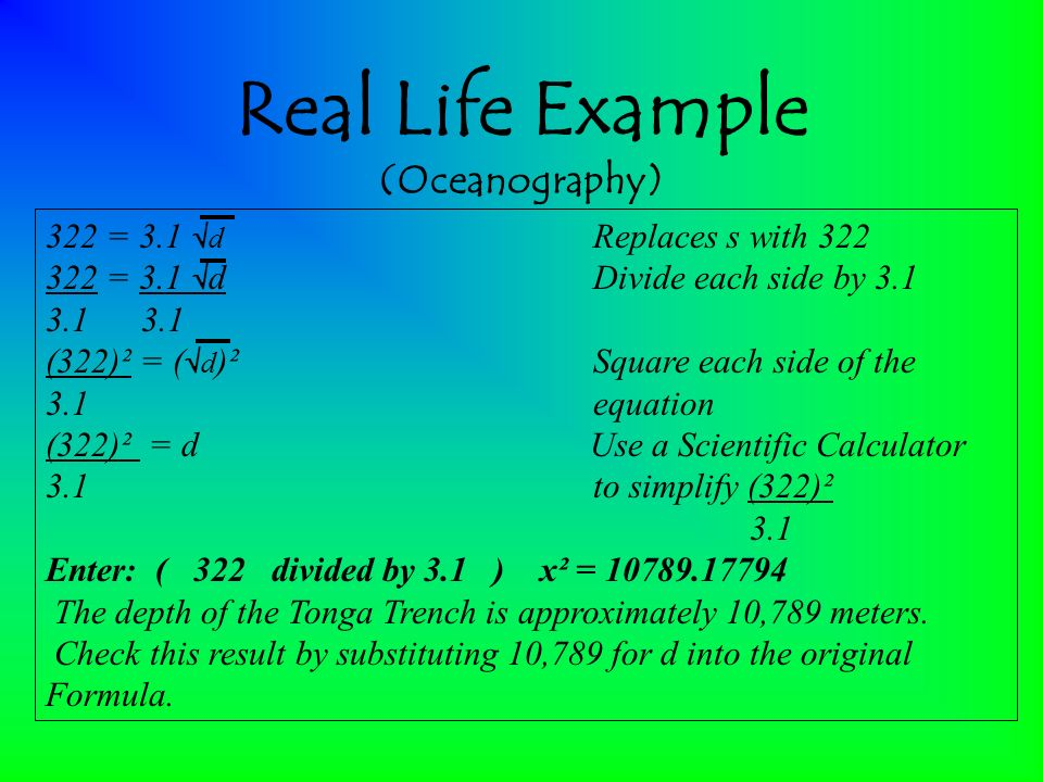 radical equations in real life