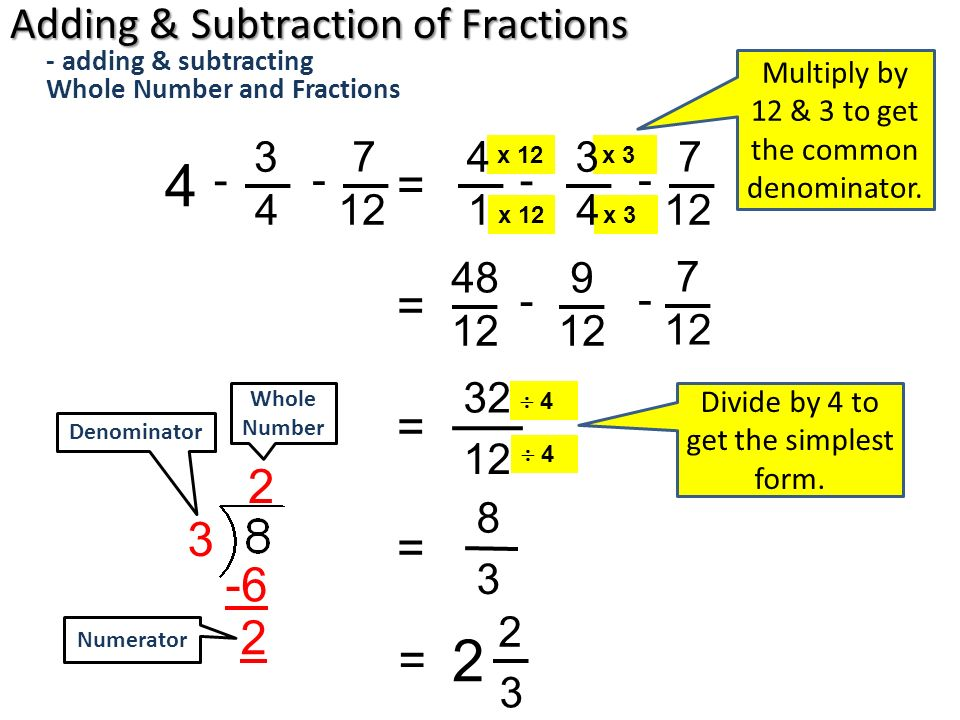 Adding & Subtracting Whole Number and Fractions - ppt download