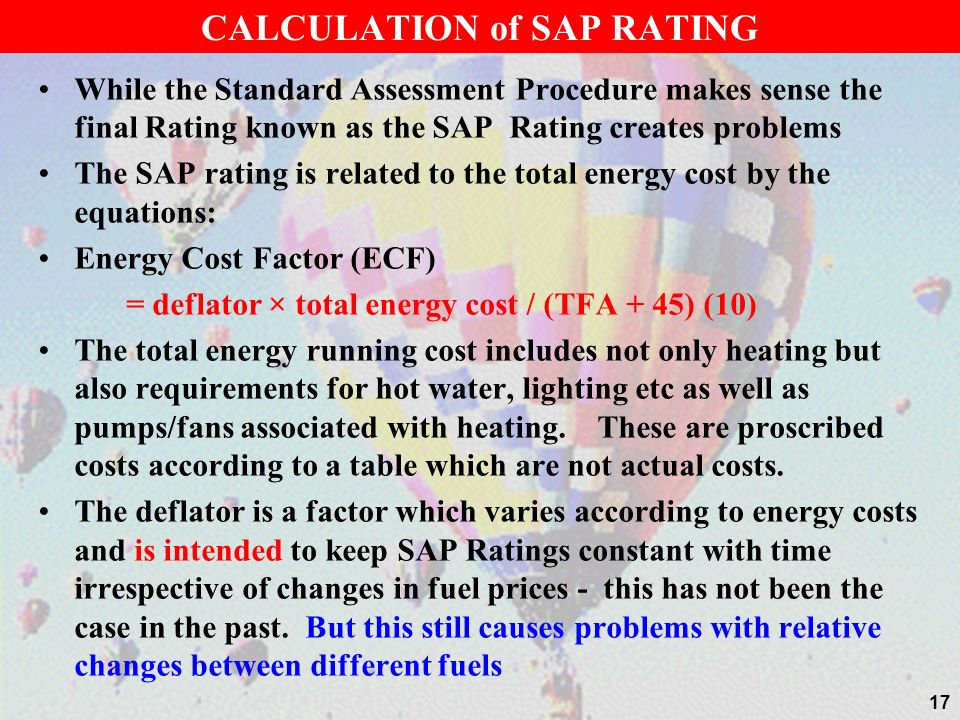 CALCULATION of SAP RATING