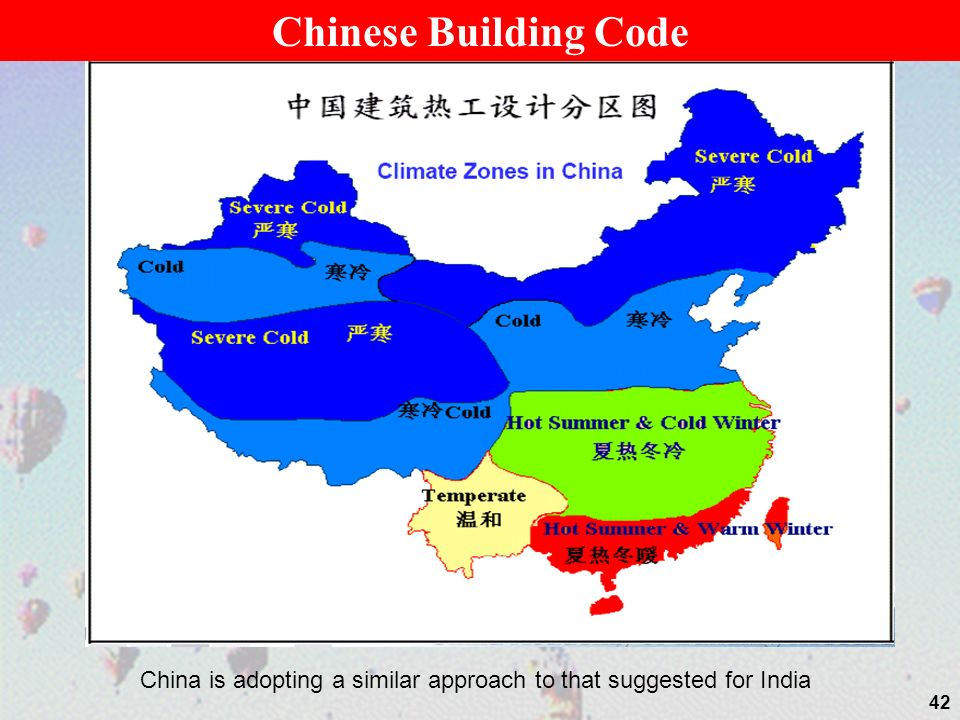 Chinese Building Code China is adopting a similar approach to that suggested for India