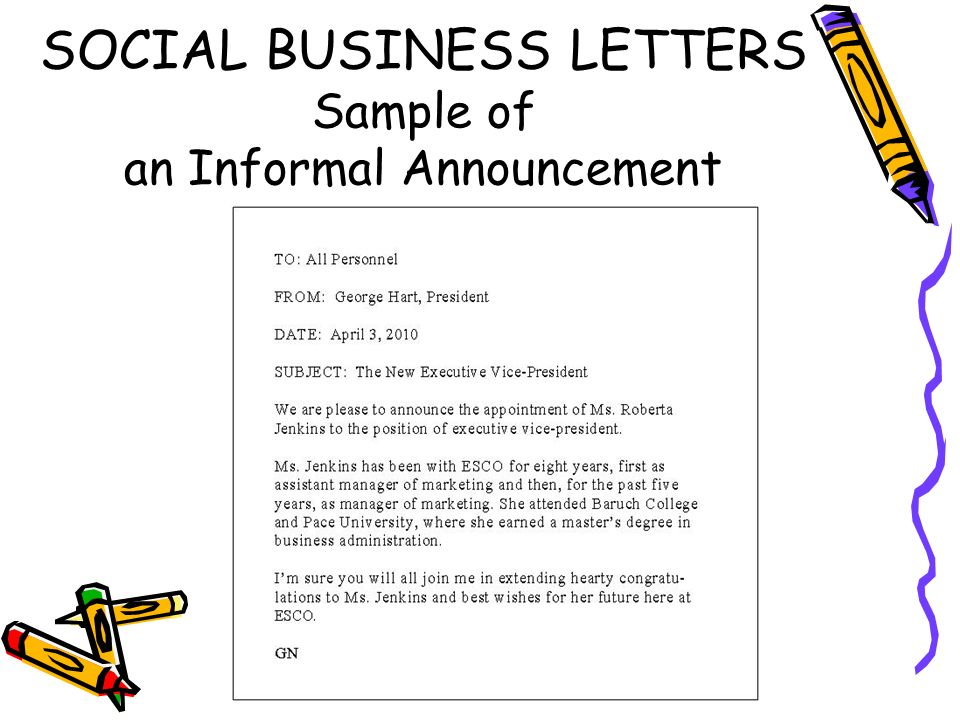 informal business letter sample