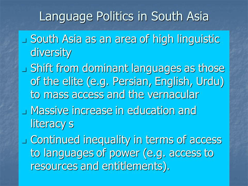 Language Politics in South Asia