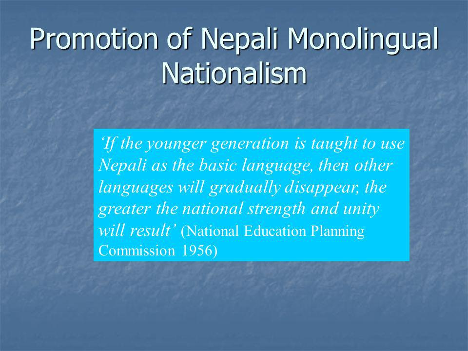 Promotion of Nepali Monolingual Nationalism