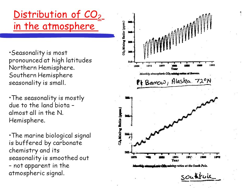 Distribution of CO2 in the atmosphere