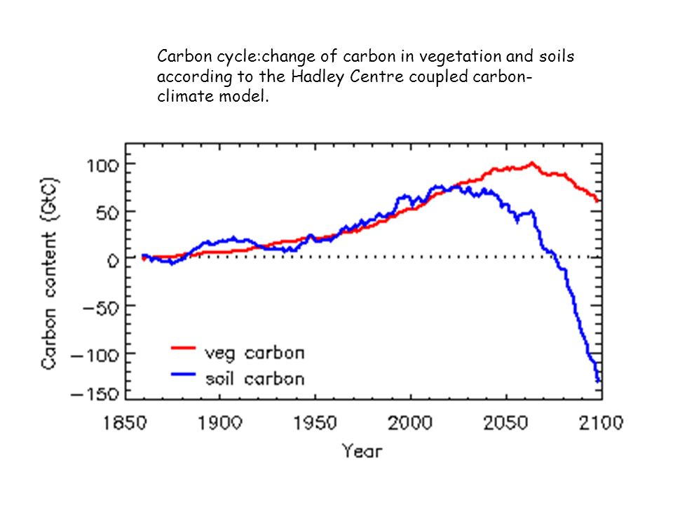 Carbon cycle:change of carbon in vegetation and soils according to the Hadley Centre coupled carbon-climate model.