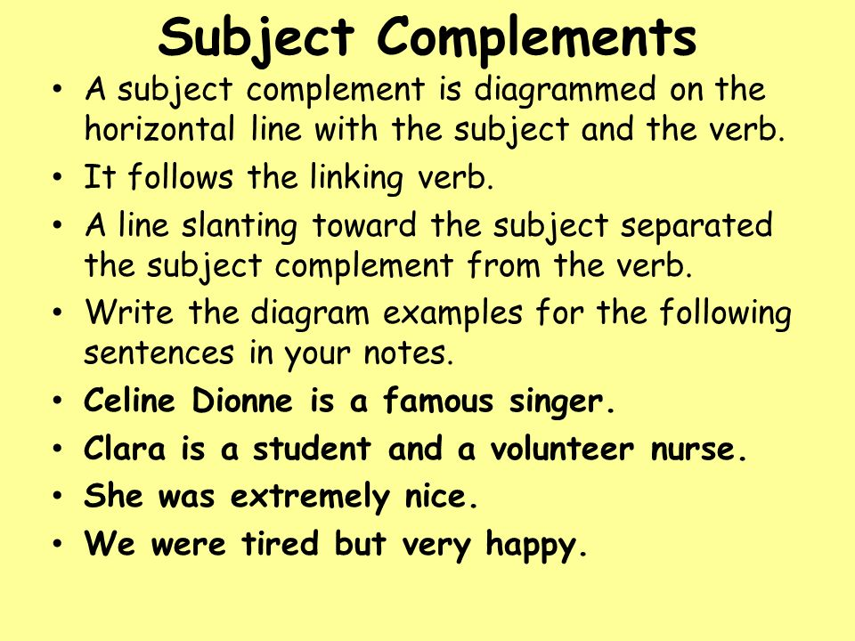 Diagramming sentences ppt download 18 subject complements a subject complement is diagrammed ccuart Gallery