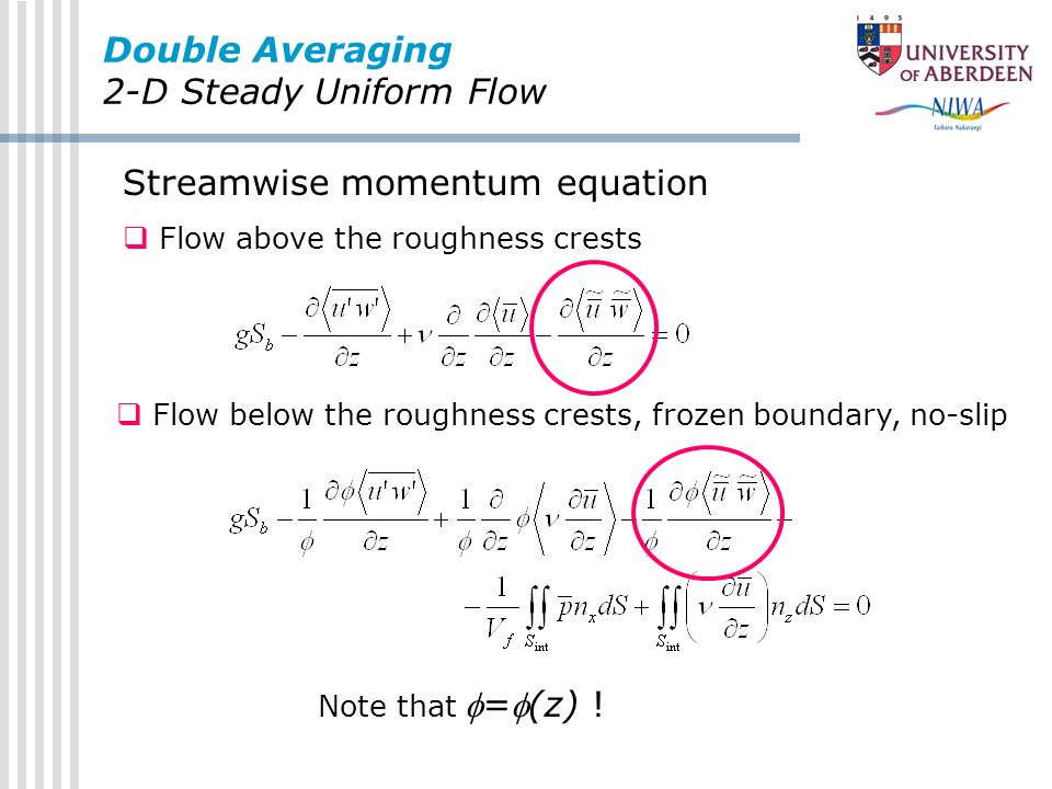 Double Averaging 2-D Steady Uniform Flow