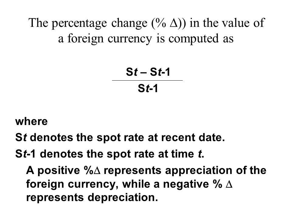 The Percentage Change In Value Of A Foreign Currency Is