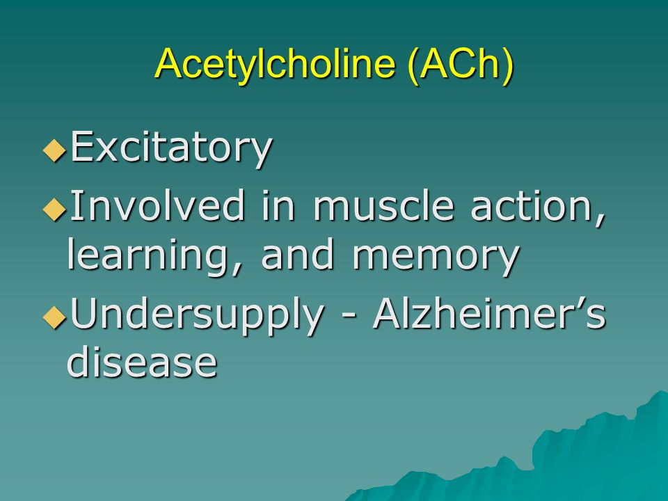Acetylcholine (ACh) Excitatory. Involved in muscle action, learning, and memory.