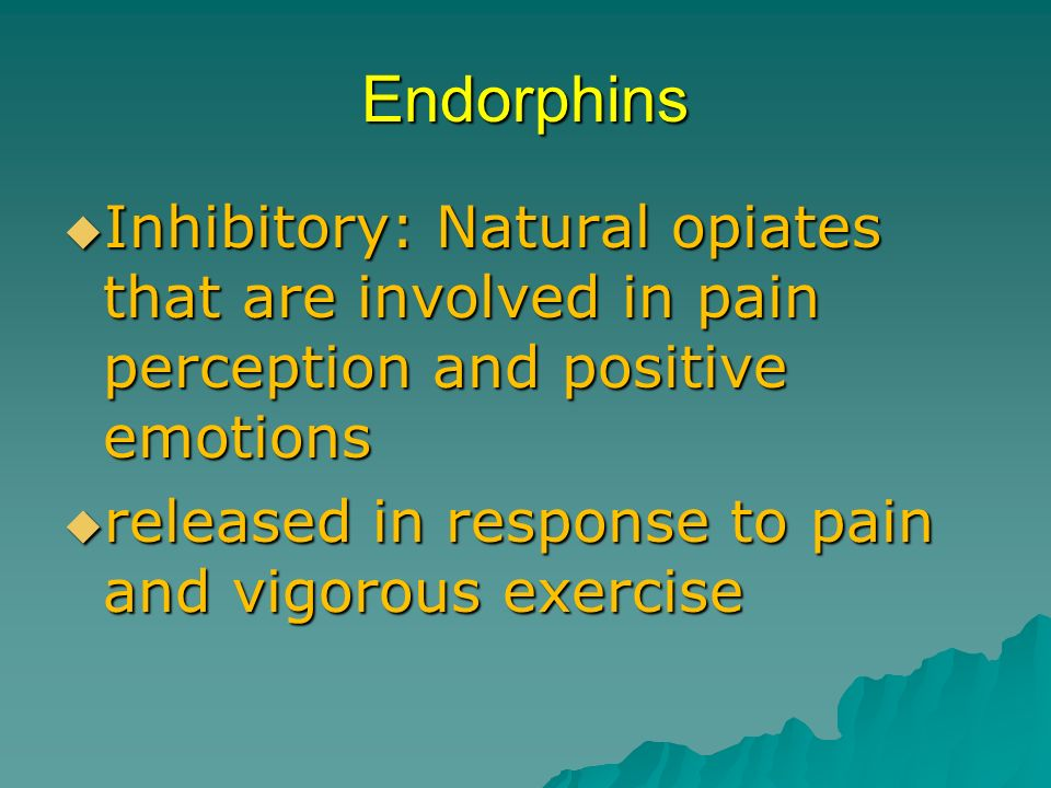 Endorphins Inhibitory: Natural opiates that are involved in pain perception and positive emotions.