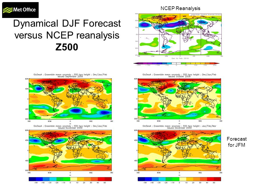 Dynamical DJF Forecast versus NCEP reanalysis Z500