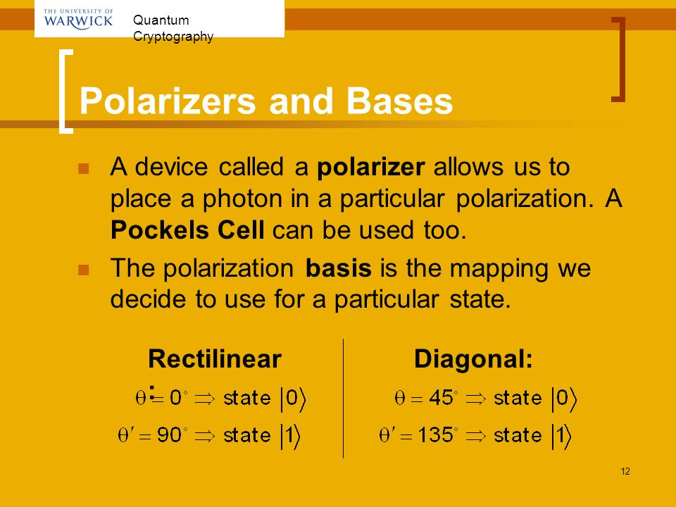 Polarizers and Bases A device called a polarizer allows us to place a photon in a particular polarization. A Pockels Cell can be used too.