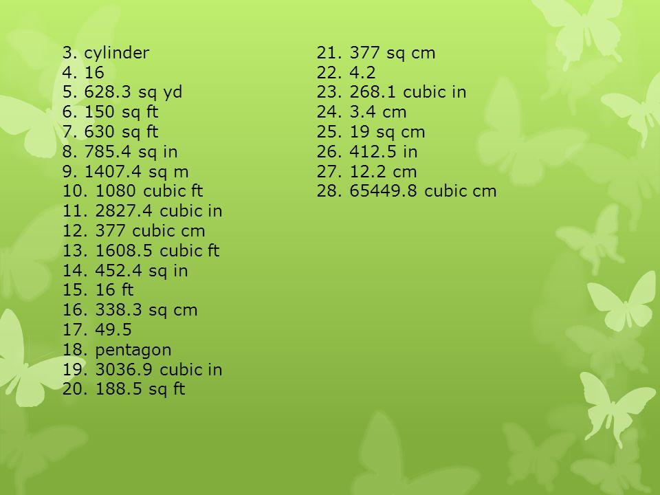 3 Cylinder Sq Cm Sq Yd Cubic In Sq Ft Cm