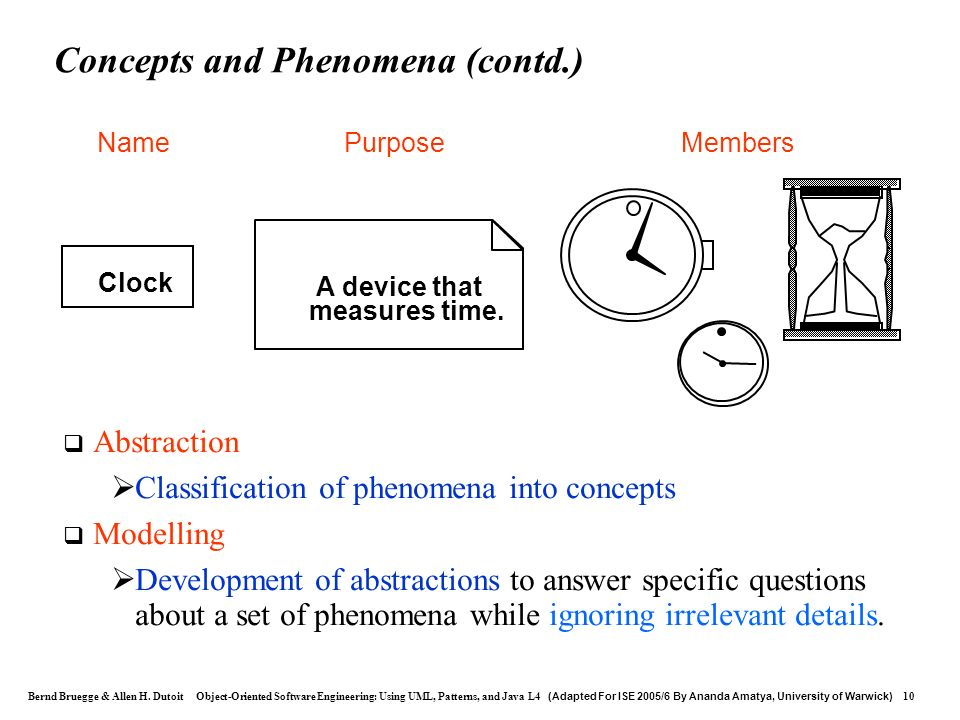 Concepts and Phenomena (contd.)