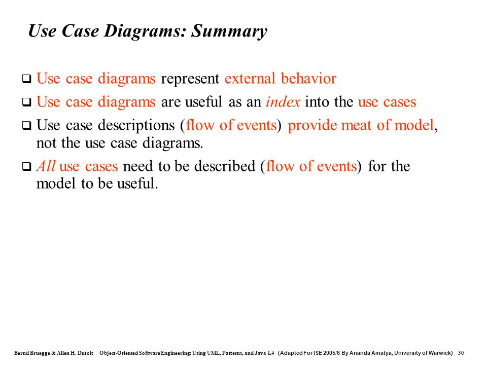 Use Case Diagrams: Summary