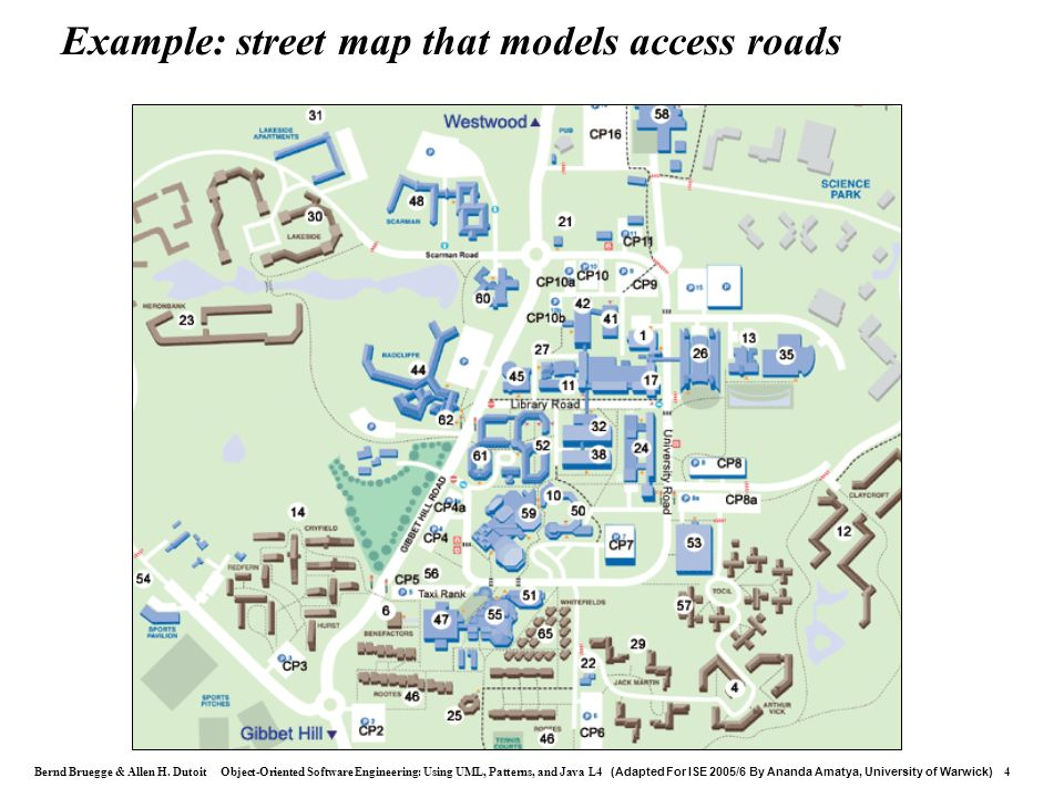 Example: street map that models access roads