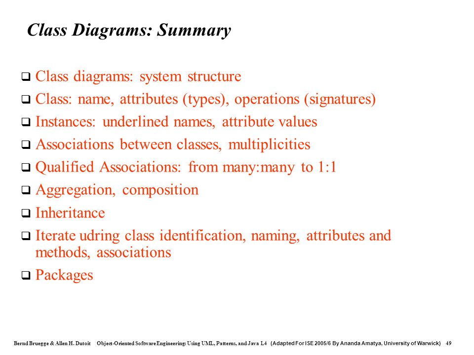 Class Diagrams: Summary