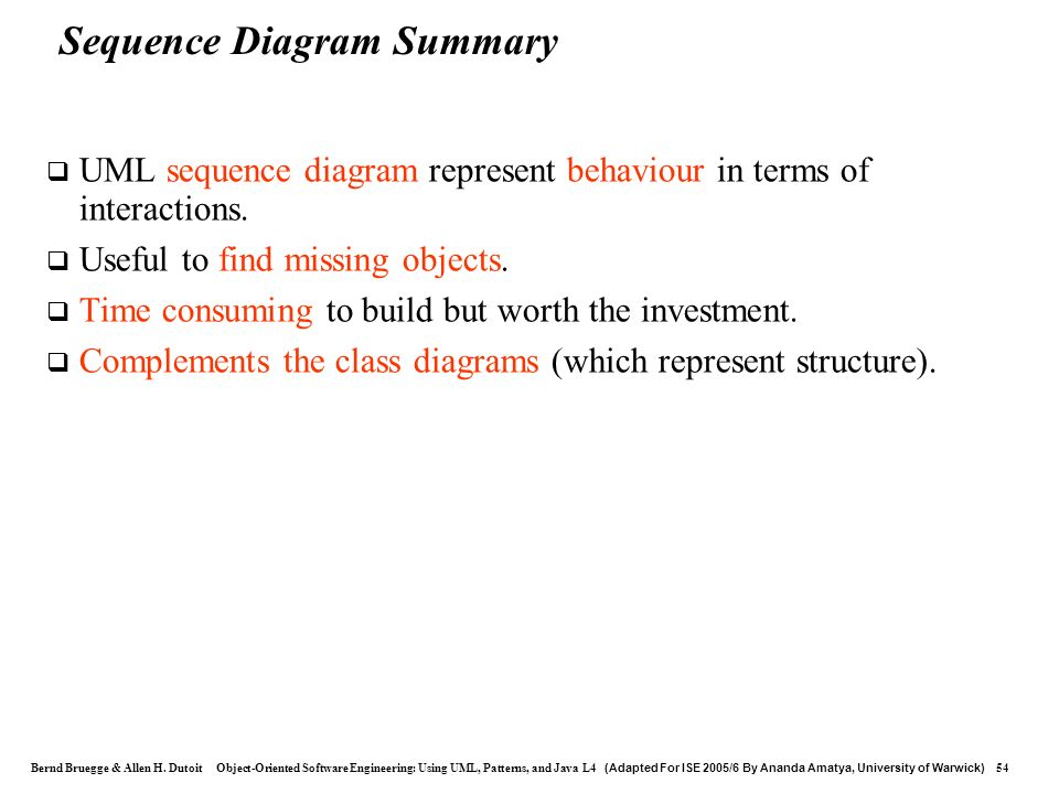 Sequence Diagram Summary