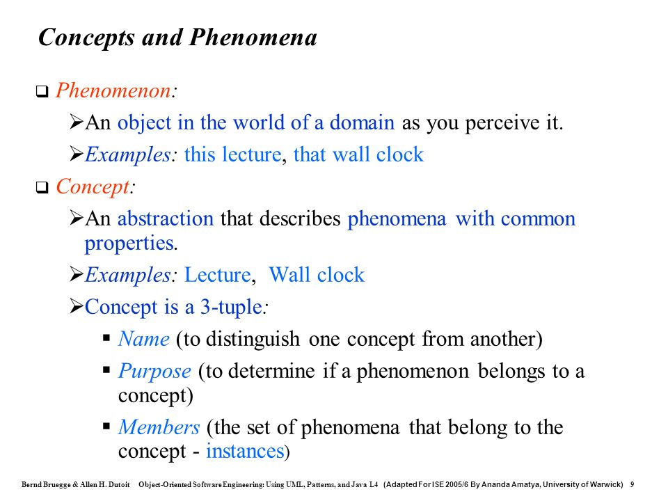 Concepts and Phenomena