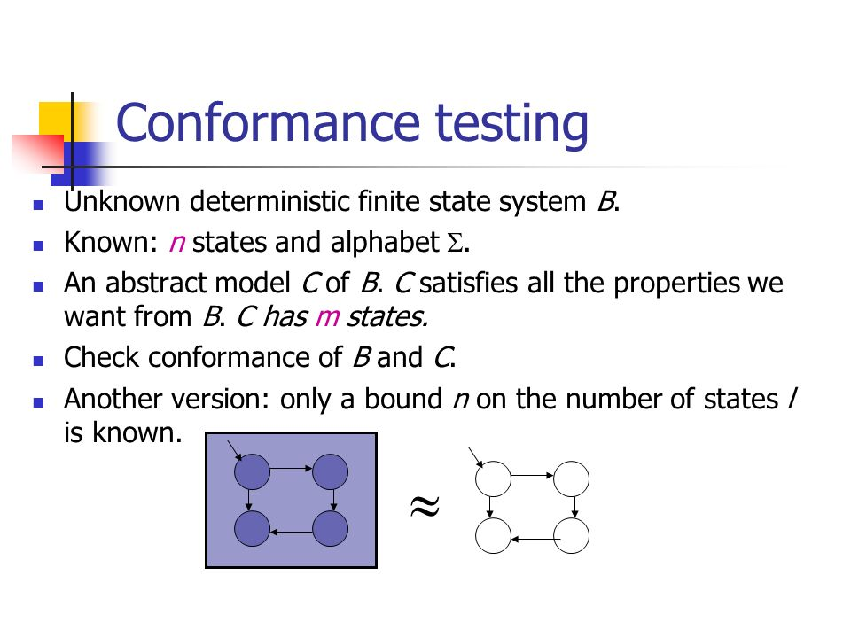  Conformance testing Unknown deterministic finite state system B.