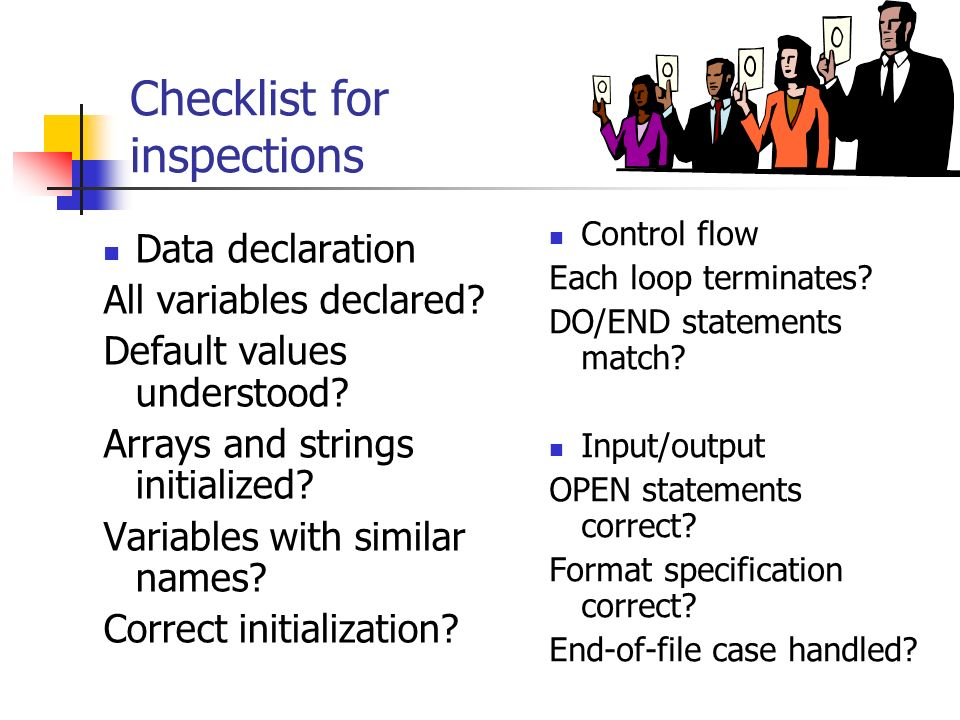 Checklist for inspections