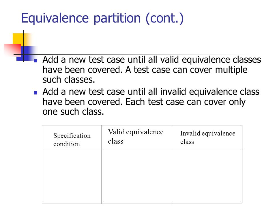 Equivalence partition (cont.)