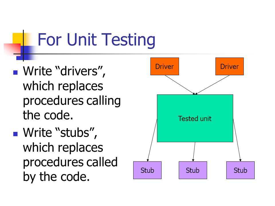 For Unit Testing Driver. Driver. Write drivers , which replaces procedures calling the code.